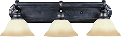 Maxim 8023WSKB Pacific 3-Light Bath Vanity, Kentucky Bronze Finish, Wilshire Glass, MB Incandescent Bulb , 60W Max., Dry Safety Rating, Standard Dimmable, Glass Shade Material, 2688 Rated Lumens