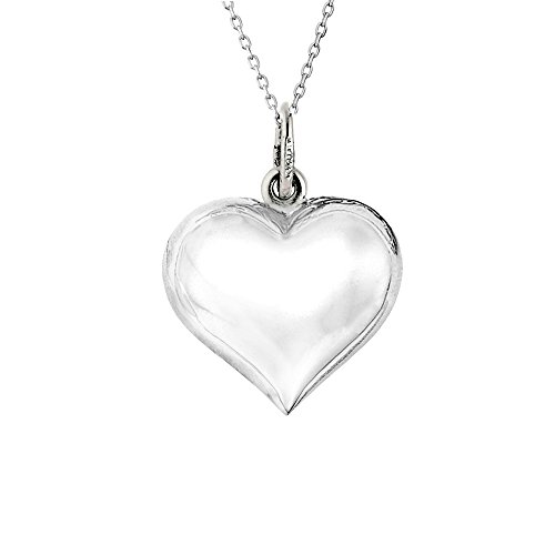 Sterling Silver Shiny Puffed Heart Polished Charm Pendant Necklace 18 Inches