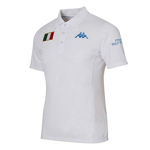 カッパ Kappa 半袖シャツ?ポロシャツ AZZURRO ストレッチ バックレタリング半袖シャツ KG712SS28 ホワイト L