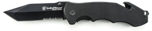 Smith & Wesson Border Guard SWBG6TS 10.1in S.S. Folding Knife with 4.2in Serrated Tanto Blade and G-10 Handle for Outdoor, Tactical, Survival and EDC