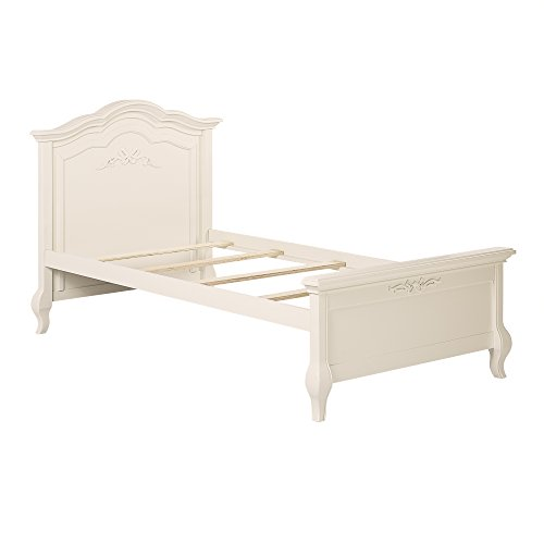 Evolur Aurora Twin Bed and Rail, Ivory Lace (Hutch Rectangular Set)