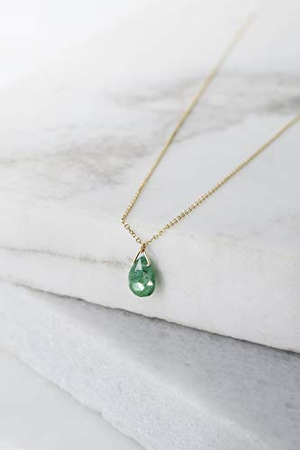 - Emerald Pendant, 9K, 14K, 18K Yellow Gold Necklace, Emerald Drop Necklace, May Birthstone Gemstone Necklace/code: 0.002