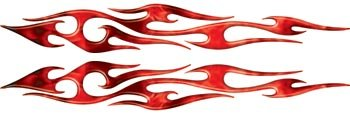 Full Color Reflective Tribal Inferno Red Flame Decals (Graphics Flame Red Tribal)