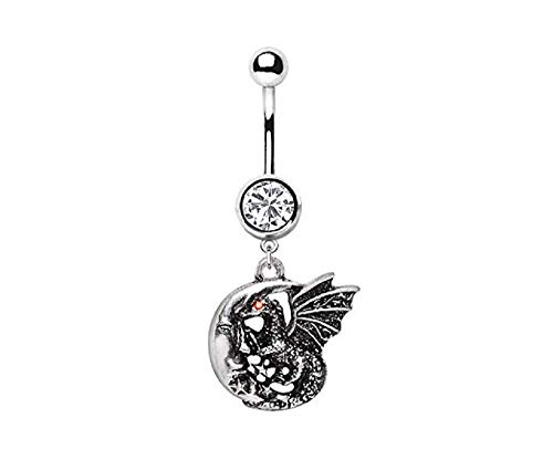 Freedom Fashion 316L Surgical Steel Dragon Moon Dangle Navel Ring (Sold by -