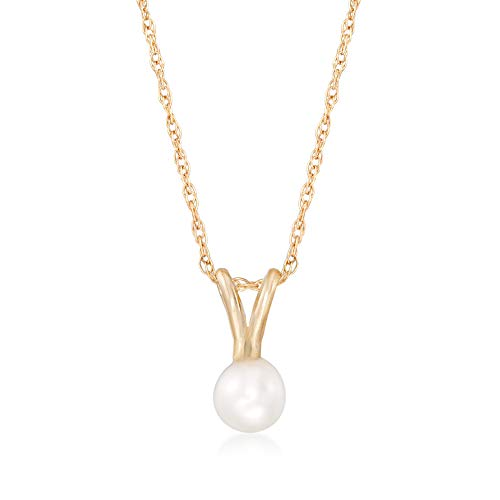 Ross-Simons Child's 4mm Cultured Pearl Solitaire Necklace in 14kt Yellow ()