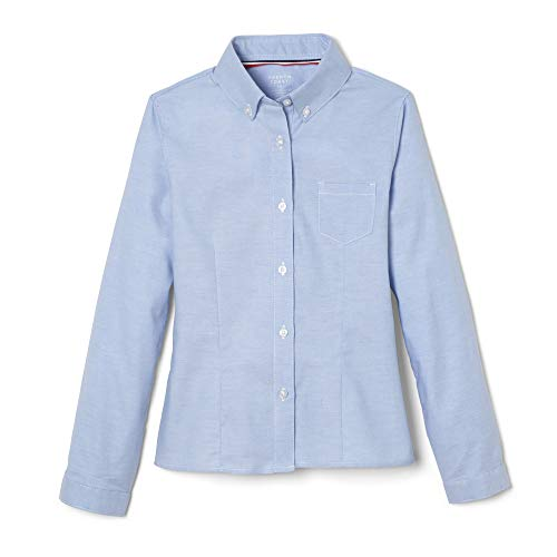 (French Toast Big Girls' Long Sleeve Button Down Oxford, Light Blue, 18)