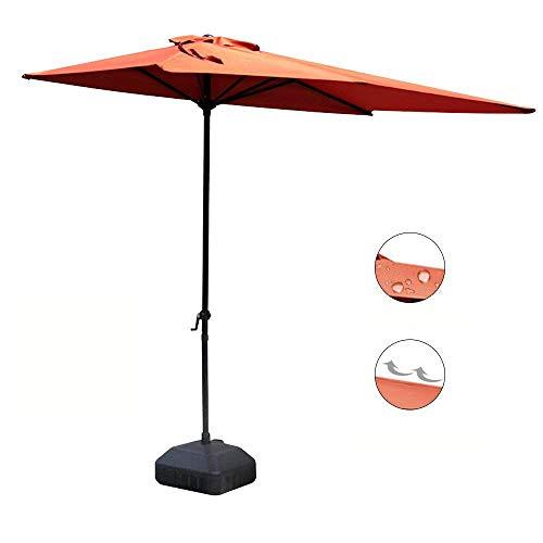 Half Vent (COBANA Half 7.5'by 4' Rectangular Outdoor Umbrella for Patio,Balcony,Garden,Deck, Brick Red)