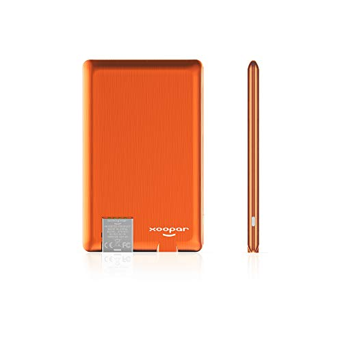 Xoopar PowerCard,Ultrathin Power Bank 1300mAH Slim Business Portable Credit Card Size Charger Metal External Battery Pack(Orange) (Card Sized Battery)