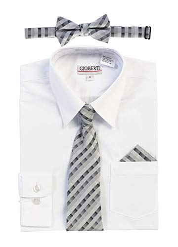Gioberti Boy's Long Sleeve Dress Shirt and Plaid Tie Set, White, Size 18