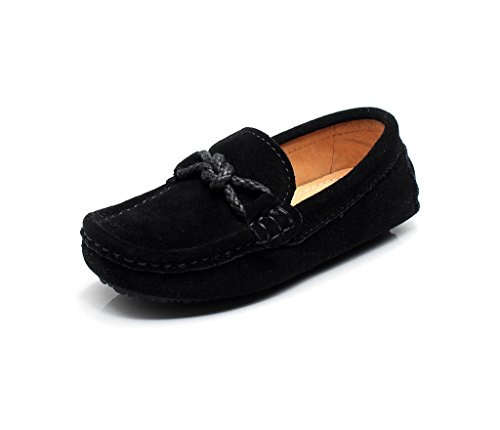 Image of Shenn Children's Boy's Slip On School-Uniform Knot Suede Leather Loafers Shoes/Flats