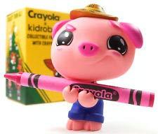 Kidrobot Minis - Coloring Critter Series - Hot Magenta Farmer Pig (1/20)