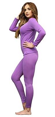 Women's Ultra Soft Thermal Underwear Long Johns Set with Fleece Lined (Large, Purple)