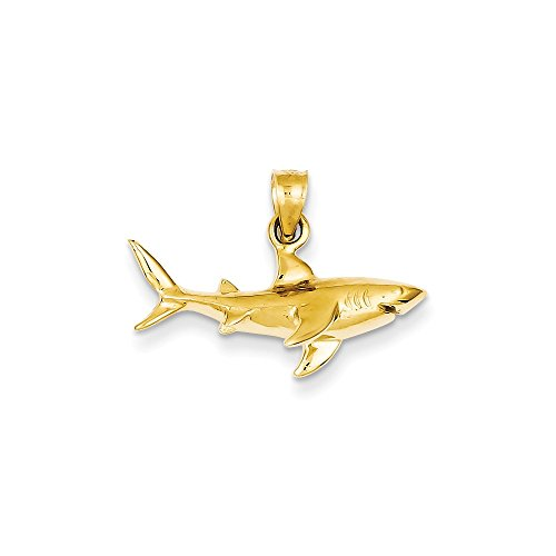 - 14k Gold Shark Pendant (0.71 in x 0.94 in)