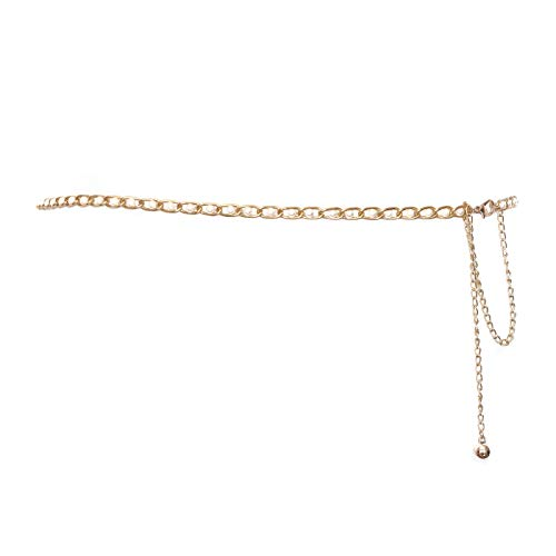 eVogues Plus Size Faux Pearl Gold Chain Link Adjustable Waist Belt 18820 - One Size Plus