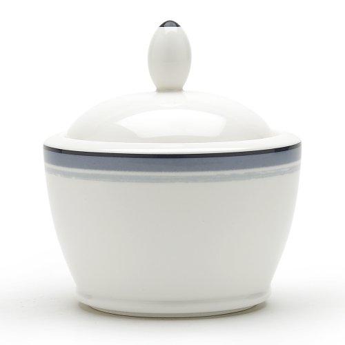 Noritake Java Graphite Swirl Sugar Bowl with Cover, 9-ounces