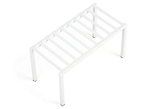 Smart Design Premium Kitchen Storage Shelf w/Plastic Feet - Medium - Steel Metal Frame - Rust Resistant Coating - Counter, Pantry, Shelf Organization - Kitchen (13 x 6 Inch) [White]