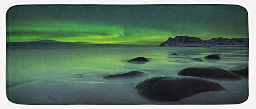 - Ambesonne Aurora Borealis Kitchen Mat, Magic Nature Panorama Coastline Oval Energy Sky Mist Picture, Plush Decorative Kithcen Mat with Non Slip Backing, 47
