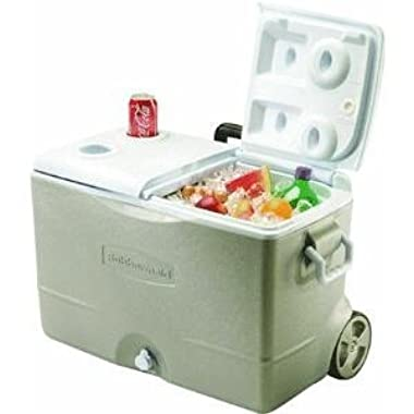 Rubbermaid DuraChill 5-Day Wheeled Ice Chest / Cooler, Platinum, 50-quart (FG2A9200PMTL)