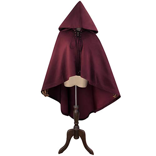 (Vfdsvbdv 42'' Holloween Hooded Cloak Deluxe Velvet Cape Unisex Witch Cloak for Vampire Christmas Cosplay Costumes (Color : Wine Red, Size : F))