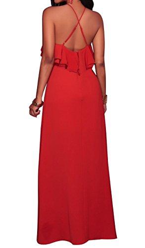 Aecibzo Maxi Club Soirée Licou Sans Manches Cocktal Rouge Robe Longue Des Femmes