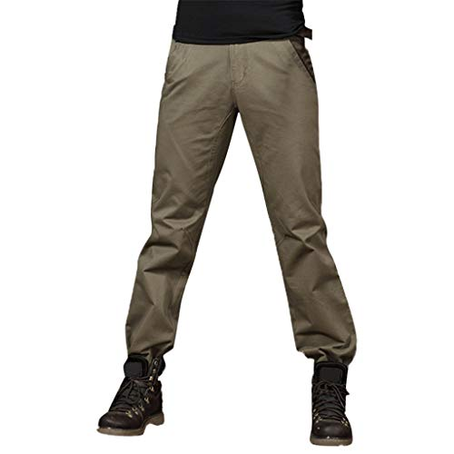 (LUCAMORE Tactical Pants Mens Solid Cotton Cargo Trousers Straight Barrel Outdoor Pants Army Green)