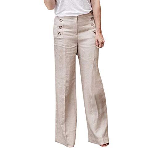 Elegante con Solido Decorati Casuale Loose Gamba Colore Larga Taglie Pantaloni Forti Pantaloni Donna Streetwear Bottoni Moda Grigio Pantaloni Lunghi Fit 85wRqtOOx