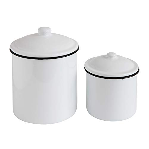 Creative Co-Op DA7600 Set of Two Canisters, White