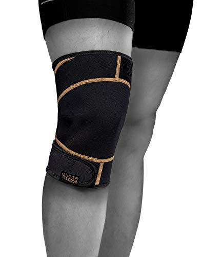 Copper Fit Unisex-Adult's Rapid Relief Knee Wrap with Hold/Cold Therapy, Black, One Size Fits All