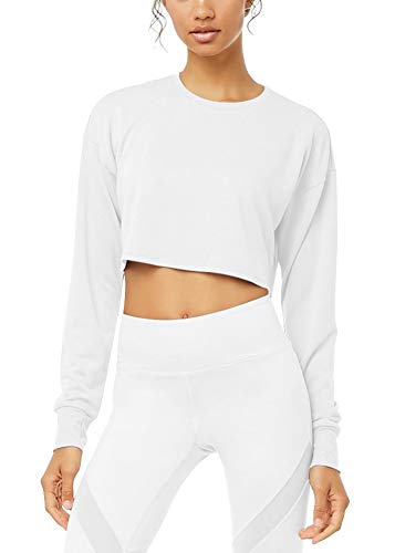 Bestisun Women Long Sleeve Plain Cropped Loose Pullover Crop Top Workout Training Fitness Active Shirts Cute Blouses Tunic with Thumb Holes White S
