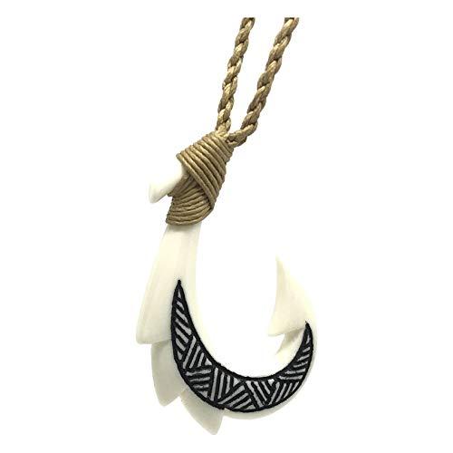 (Hawaiian Jewelry Hand Carved Tattoo Fish Hook White Buffalo Bone Hawaii Necklace )