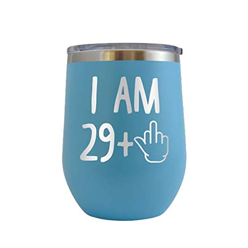 I AM 29 plus 1 - Engraved 12 oz Stemless Wine Tumbler Cup Glass Etched - Funny Birthday Gift Ideas for him, her, mom, dad, husband, wife 30th Dirty Thirty Hilarious 1989 (Baby Blue - 12 oz)