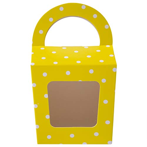 [24pcs] ONE MORE Single Mini Cupcake Boxes Individual Containers With Handle and PVC Window,Disposable Paper Cupcake Holders (yellow)