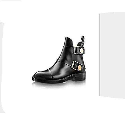 de black 38 superficie HCuatro blanda cinturón de amarillo las botas de antideslizante negro XIAOGANG la de desgaste cortas H hebilla resistencia cuero al goma mujeres estaciones qSfPWtv4