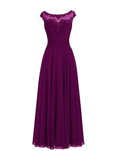 Abendkleider Chiffon Spitze Partykleider Elegant Abschlussballkleider Hundkragen Lila A Rock Lang Linie Charmant Damen UqaXpwUO