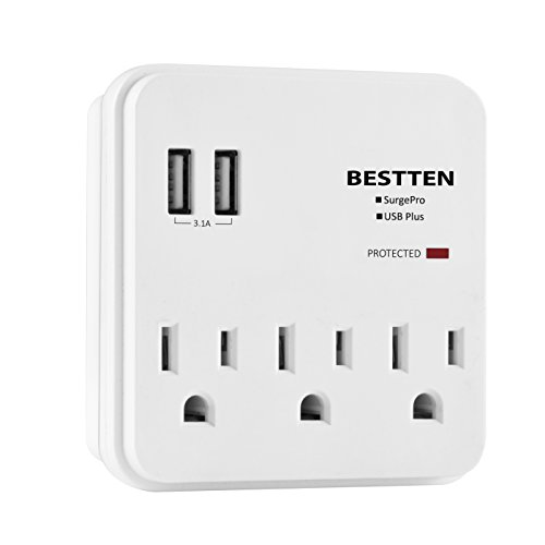Bestten Multi Functional Protector Outlets Charging