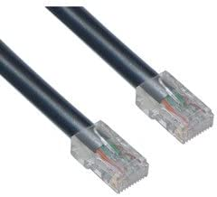 PcConnectTM Black Cat6 RJ45 Ethernet Patch Cable Bootless 25feet Cable