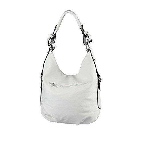 OBC DAMEN TASCHE SHOPPER Hobo-Bag Henkeltasche Schultertasche Umhängetasche Handtasche CrossOver CrossBag Damentasche Reisetasche Beuteltasche (Weiß) Weiß GKMBDtJkw