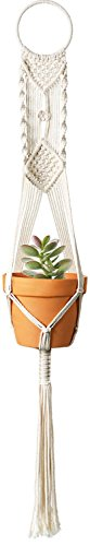- Mkono Macrame Plant Hangers Indoor Wall Hanging Planter Holder Cotton Rope Home Boho Decor 40 inches