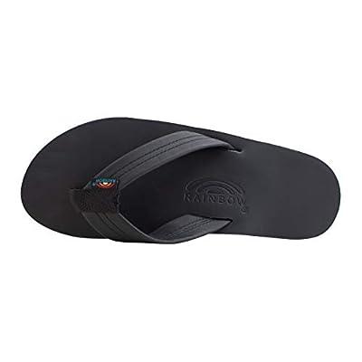 Rainbow Sandals Men's Double Layer Premier Leather w/Arch, Black, Men's X-Large / 11-12 D(M) US | Sandals