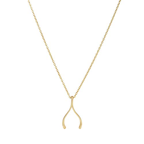 14K Yellow Gold 20x12mm Wishbone Element Charm on 1.1mm Oval Link Necklace 17