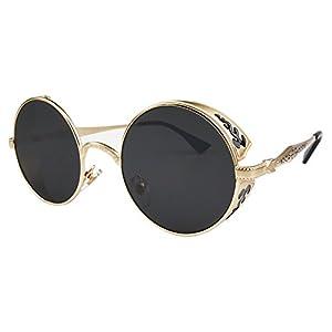 Vivian & Vincent Vintage Hippie Retro Metal Round Circle Frame Sunglasses (Gold Frame Black Lens)