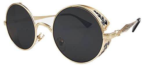 VIVIAN & VINCENT Hippie Retro Vintage Round Sunglasses for Women Metal Frame Shades Gold Black]()