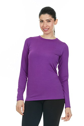 Thermajane Women's Ultra Soft Thermal Shirt - Compression Baselayer Crew Neck Top - Fleece Lined Long Sleeve Underwear T Shirt (Purple, X-Large)