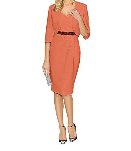 Orange Abendkleider Jugendweihe mit Knielang Charmant Kleider Festlichkleider Satin Jaket Brautmutterkleider Damn Kurzes wXxx7Pqt1