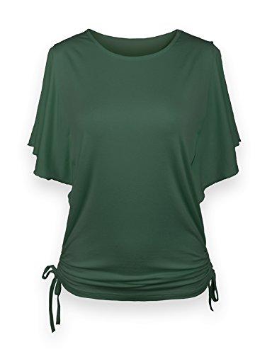 ReliBeauty Women's Flutter Sleeve Solid Tops (8-10, Dusty Green) (Green Dusty)