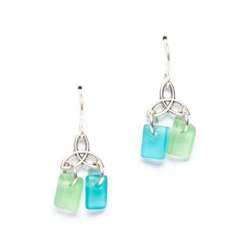 Best Selling Items Beach Glass Earrings Gift under 25 Aquamarine Blue Cultured Dangly Sea Glass Earrings Best Friend Gift Sea Glass