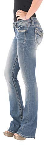 Miss Me Junior's Mid-Rise Boot Cut Jeans, Medium Blue 32 from Miss Me