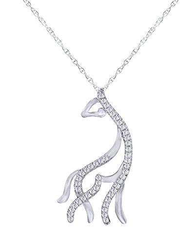 1/10 CT Round Cut Natural Diamond Giraffe Pendant Necklace in 10K Solid White ()