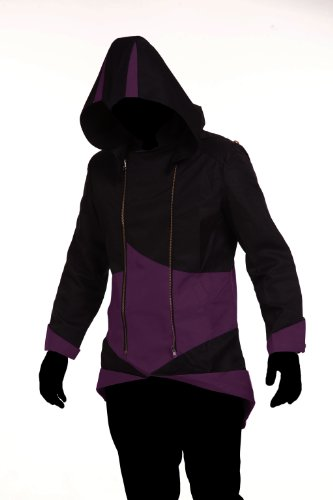 1stvital Cosplay Costume Uniform Jacket Zipper Coat,Black & Purple (Child-L)