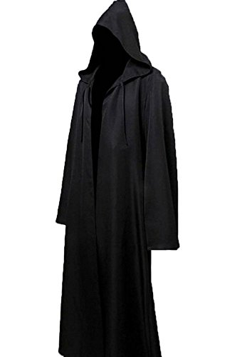 Black Knight Halloween Costume (Clearoy Men's Tunic Hooded Robe Cloak Knight Gothic Halloween Masquerade Cosplay Costume Cape M Black)